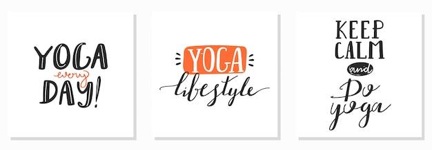 Set inscripties. stijlvol typografiesloganontwerp over yoga.