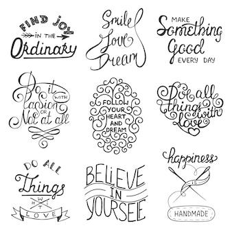 Set inspirerende typografie slogans handgeschreven letters letter
