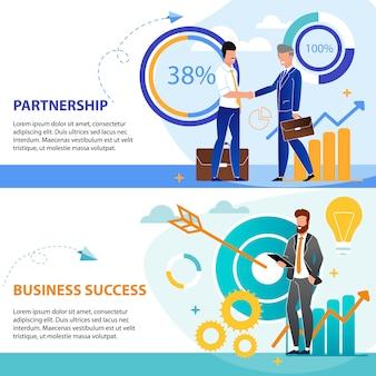 Set is schriftelijk partnerschap en zakelijk succes.