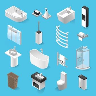 Set isometrische badkamer elementen