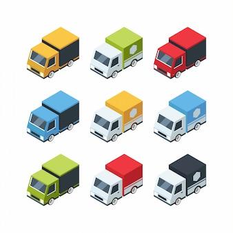 Set isometrische cartoon-stijl vrachtauto's