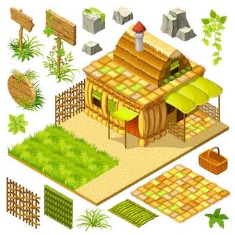 Set isometrische cottage en game-elementen.