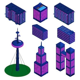 Set isometrische gedetailleerde gebouwen in modern palet geïsoleerd op wit. tv-toren, wolkenkrabbers en woongebouwen. vectoreps10.