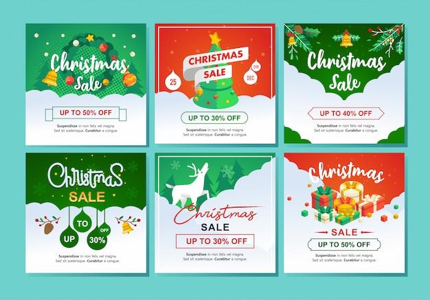 Set isometrische illustratie van chirstmas verkoop en winterkorting met 30 tot 50 procent kortingsprijs