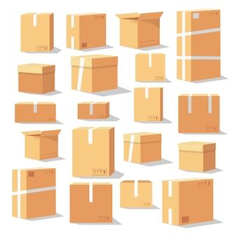 Set isometrische kartonnen dozen