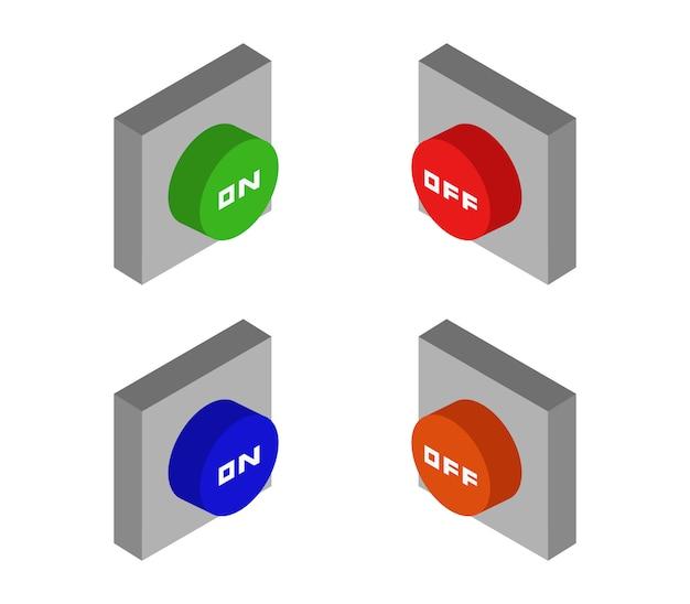 Set isometrische knoppen aan en uit