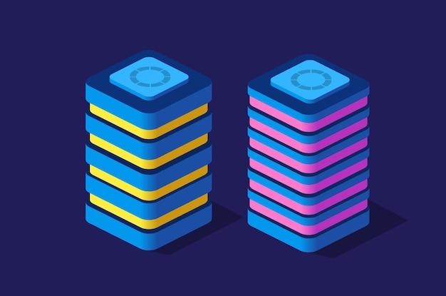 Set isometrische moderne gebouwen