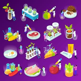 Set isometrische pictogrammen met kunstmatige voedselwetenschappers en laboratoriumapparatuur op geïsoleerde paars