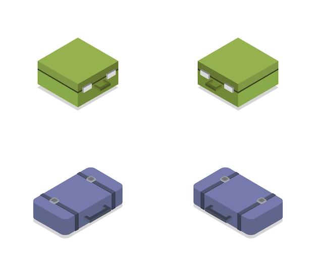 Set isometrische pictogrammen reizen koffers