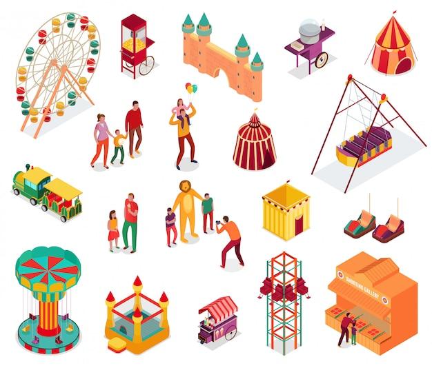 Set isometrische pretparkelementen met bezoekers straatvoedsel en attracties geïsoleerde illustratie