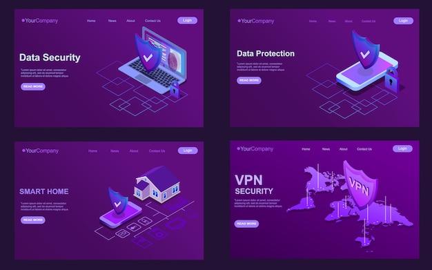 Set isometrische sjablonen voor bestemmingspagina's. gegevensbescherming en beveiliging. platte vectorillustratieconcepten voor een webpagina of website eps