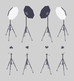 Set isometrische softboxen, fotocamera's en statieven.