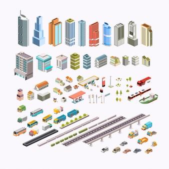 Set isometrische stad bouwen, transport, huizen en openbare ruimte vectorillustratie