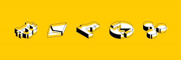 Set isometrische symbolen van cryptocurrencies op gele achtergrond