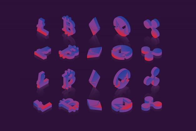 Set isometrische symbolen van verschillende cryptocurrencies op donkere achtergrond