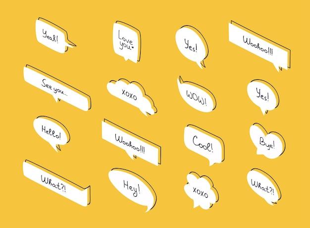 Set isometrische tekstballonnen. vragen tekstballonnen in plat design met korte berichten.