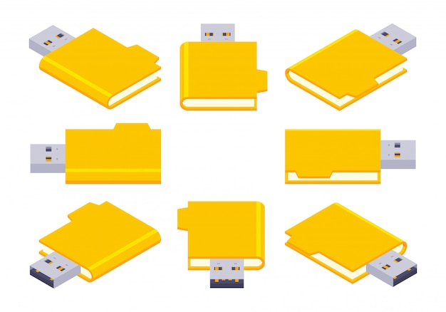 Set isometrische usb-flashstations