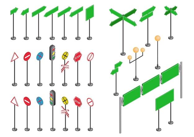Set isometrische verkeersborden geïsoleerd op een witte achtergrond voor het maken van een stadsplattegrond.