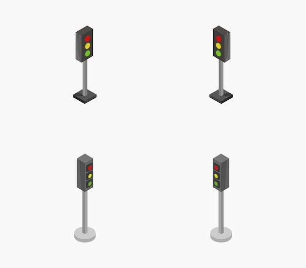 Set isometrische verkeerslichten