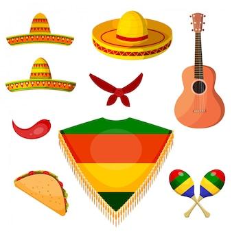 Set items in de nationale stijl van een mexicaanse muzikant.