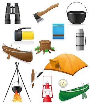 Set items voor outdoor recreatie vectorillustratie