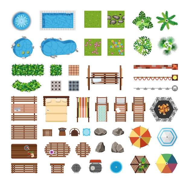 Set items voor recreatie op het persoonlijke perceel