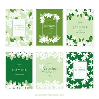 Set jasmijnkaarten met prachtige bloemen