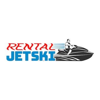 Set jetski verhuur logo, badges en emblemen geïsoleerd op een witte achtergrond. waterscooters vervoer logo.