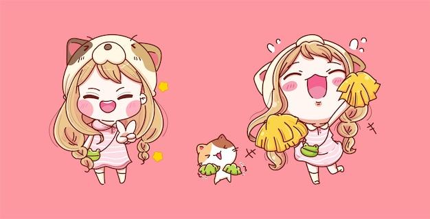 Set jong meisje blij en glimlach geïsoleerd op roze