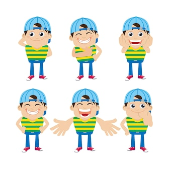 Set jonge man karakters met verschillende emoties