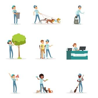 Set jonge vrijwilligers: tuinieren, vuilnis opruimen, oude en daklozen helpen. sociale ondersteunende activiteiten. stripfiguur. illustratie in stijl op witte achtergrond.
