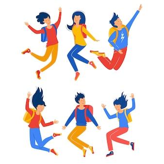 Set jongens en meisjes springen studenten met rugzakken het concept van succes