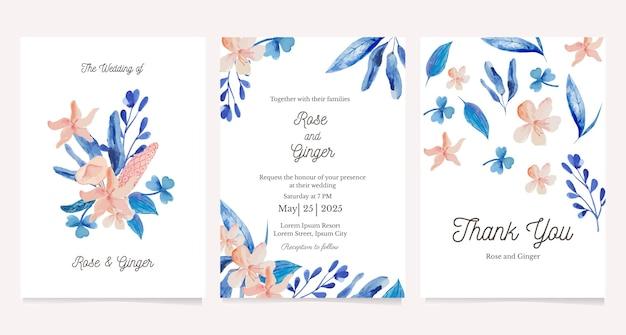 Set kaart met aquarel bloem. wenskaart, bruiloft uitnodiging ontwerpsjabloon