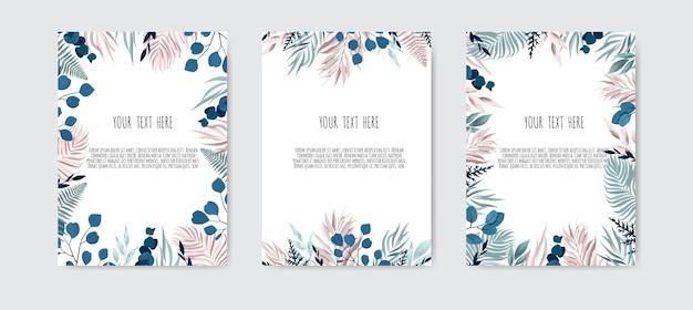 Set kaart met bladeren. bloemdessin