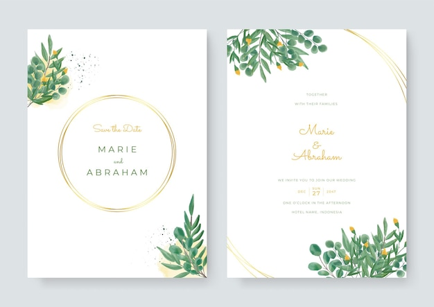 Set kaart met groene bloemen, laat aquarel. bruiloft sieraad concept. bloemenposter, uitnodigen. vector decoratieve wenskaart of uitnodiging ontwerp. luxe gouden lijn frame op witte achtergrond