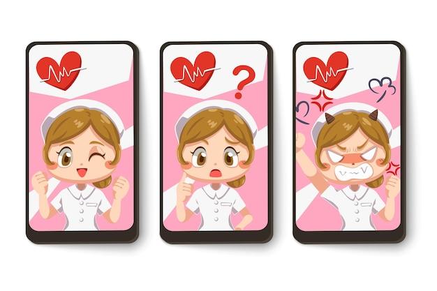 Set kaart van verpleegster uniform dragen met verschil gevoel in stripfiguur, geïsoleerde vlakke afbeelding