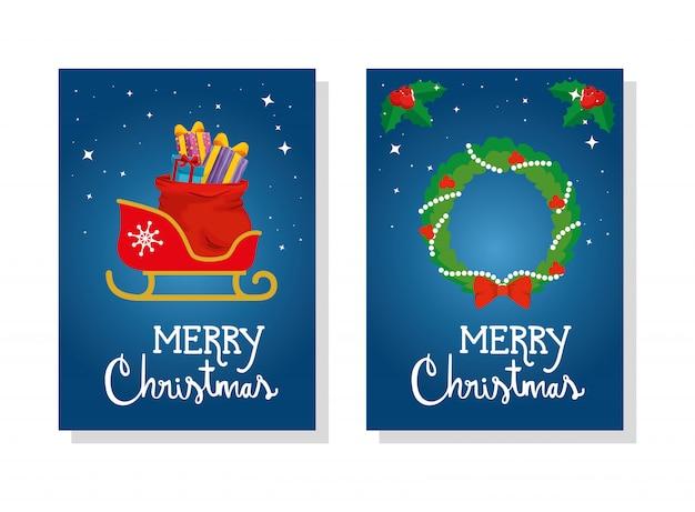 Set kaart van vrolijk kerstfeest met slee en kroon decoratie