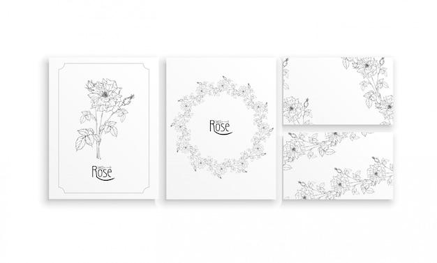 Set kaarten en visitekaartjes met grafische bloemstukken met bloemen van rozen