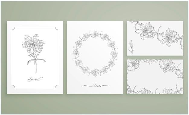 Set kaarten en visitekaartjes met grafische bloemstukken