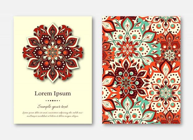 Set kaarten, flyers, brochures, sjablonen met handgetekende manda
