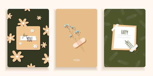 Set kaarten in een minimale stijl en groene kleuren met bloemen hand getrokken
