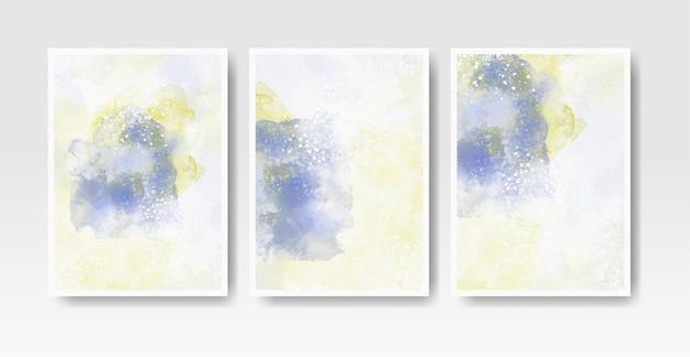 Set kaarten met aquarel vlekken Premium Vector
