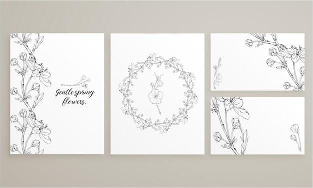 Set kaarten met delicate lente bloemen