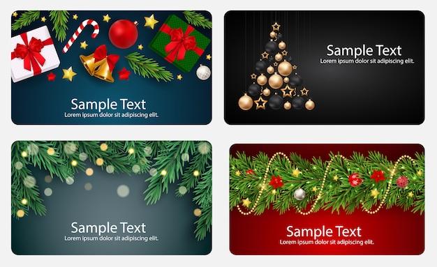 Set kaarten met kerstballen, sterren en sneeuwvlokken, vectorillustratie