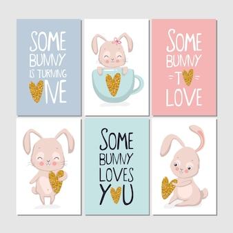 Set kaarten met konijn en belettering, een konijn houdt van je.