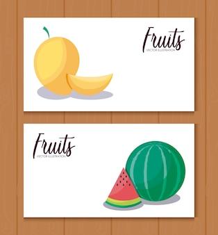Set kaarten met mango's en watermeloenen