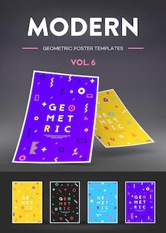 Set kaarten met moderne geometrische patronen.
