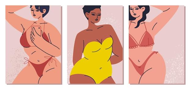 Set kaarten met vrouwen in een zwembroek en zelfliefde in cartoon-stijl