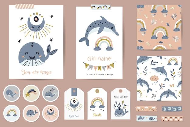 Set kaarten, notities, stickers, etiketten, stempels, tags met walvissen en regenbogenillustraties voor meisjes. afdrukbare kaartsjablonen.