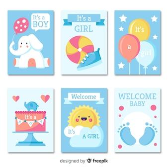 Set kaarten van de baby shower